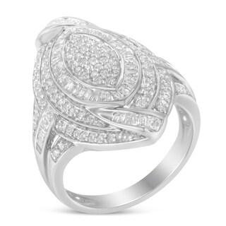 Sterling Silver 1 1 7ct TDW Diamond Cocktail Ring I J I2 I3