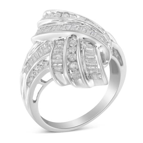 Sterling Silver 1ct. TDW Diamond Bypass Cocktail Ring (I-J, I2-I3)