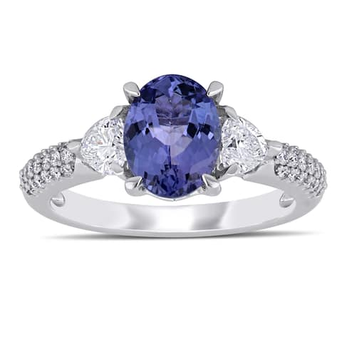 Miadora 14k White Gold Tanzanite and 2/8ct TDW Diamond Engagement Ring