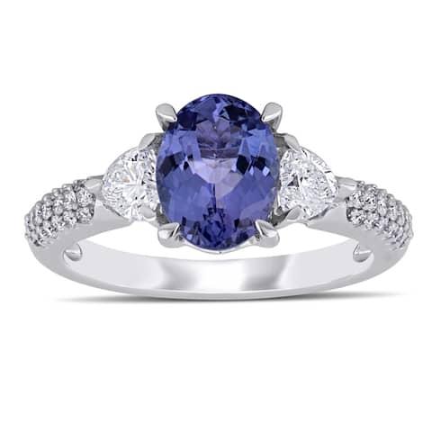 Miadora 14k White Gold Tanzanite and 2/8ct TDW Diamond Engagement Ring