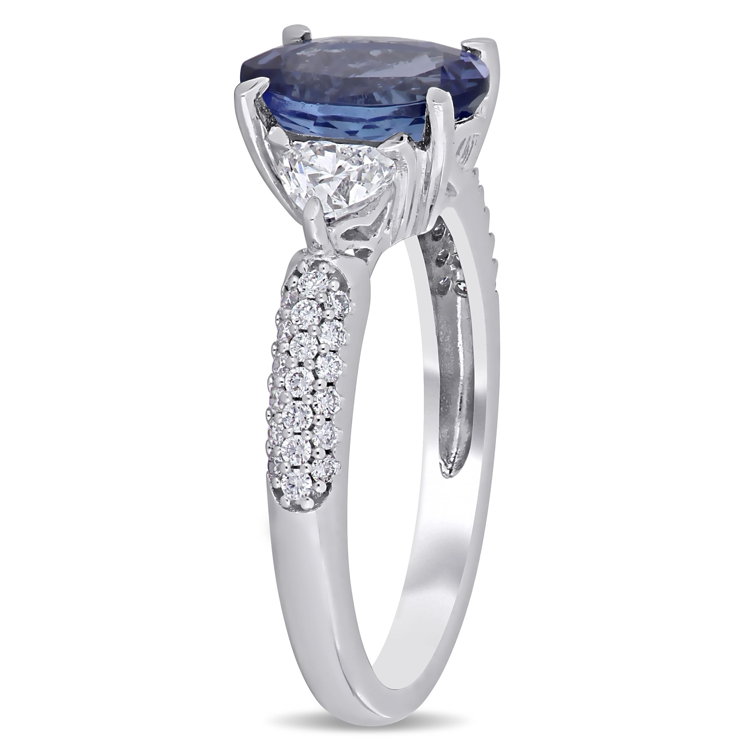 0a13d745cafc2 Miadora 14k White Gold Tanzanite and 2/8ct TDW Diamond Engagement Ring