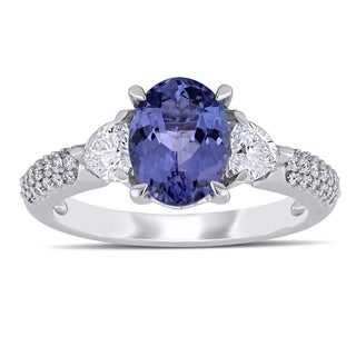 d9deada85ac2a Miadora 14k White Gold Tanzanite and 2/8ct TDW Diamond Engagement Ring |  Overstock.com Shopping - The Best Deals on One-of-a-Kind Rings