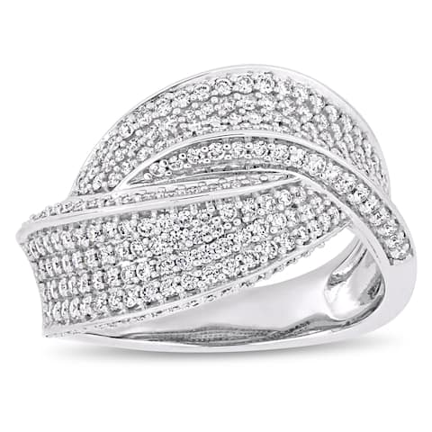 Miadora 14k White Gold 1ct TDW Diamond Interlaced Crossover Ring