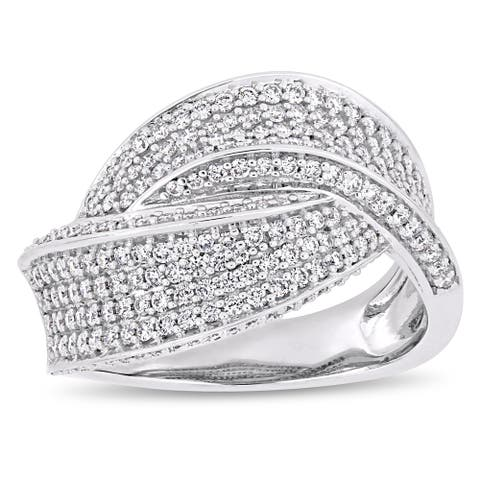 Miadora 14k White Gold 1ct TDW Diamond Interlaced Crossover Ring