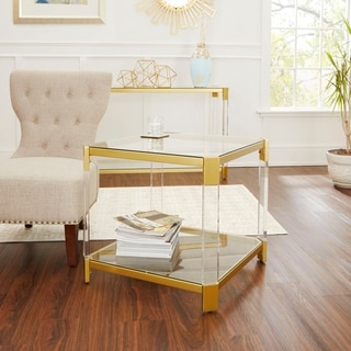 Huxley Acrylic and Gold with Glass Top End Table