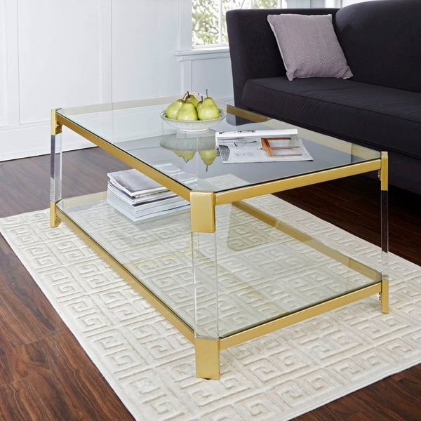 Shop Huxley Acrylic and Gold with Glass Top Coffee Table - Free Shipping Today - Overstock
