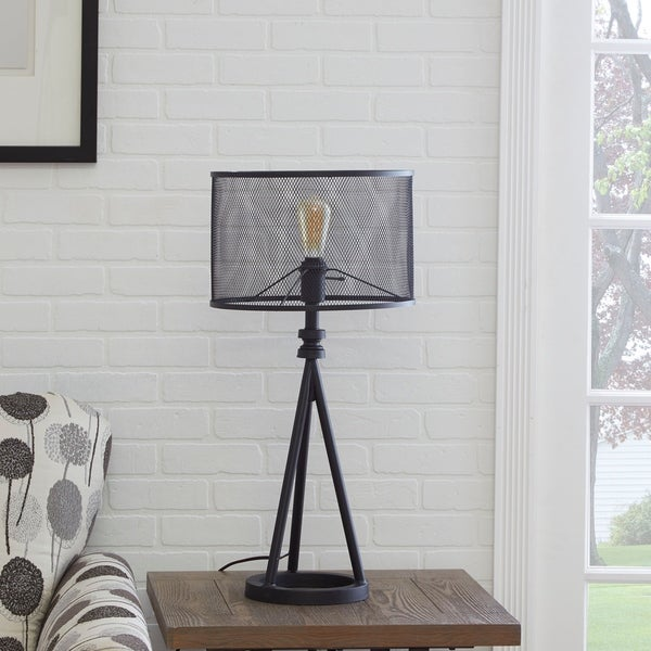 Shop Woodruff Industrial Tripod Table Lamp With Metal Mesh