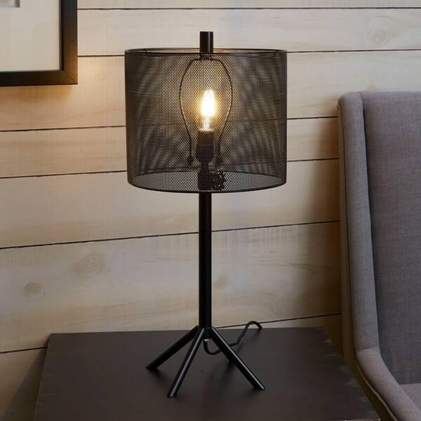 Rhett Tall Metal Table Lamp With Mesh Shade