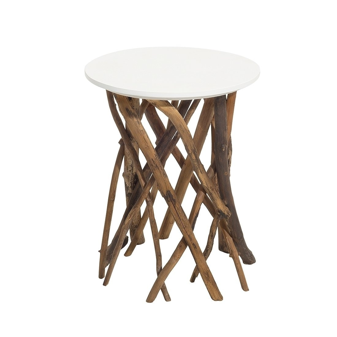 Houma Brown Teak Wood Tree Branch Design Coffee Side Table Overstock 24256404