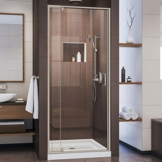 DreamLine Flex Shower Door, Brushed Nickel and Center Drain White Base