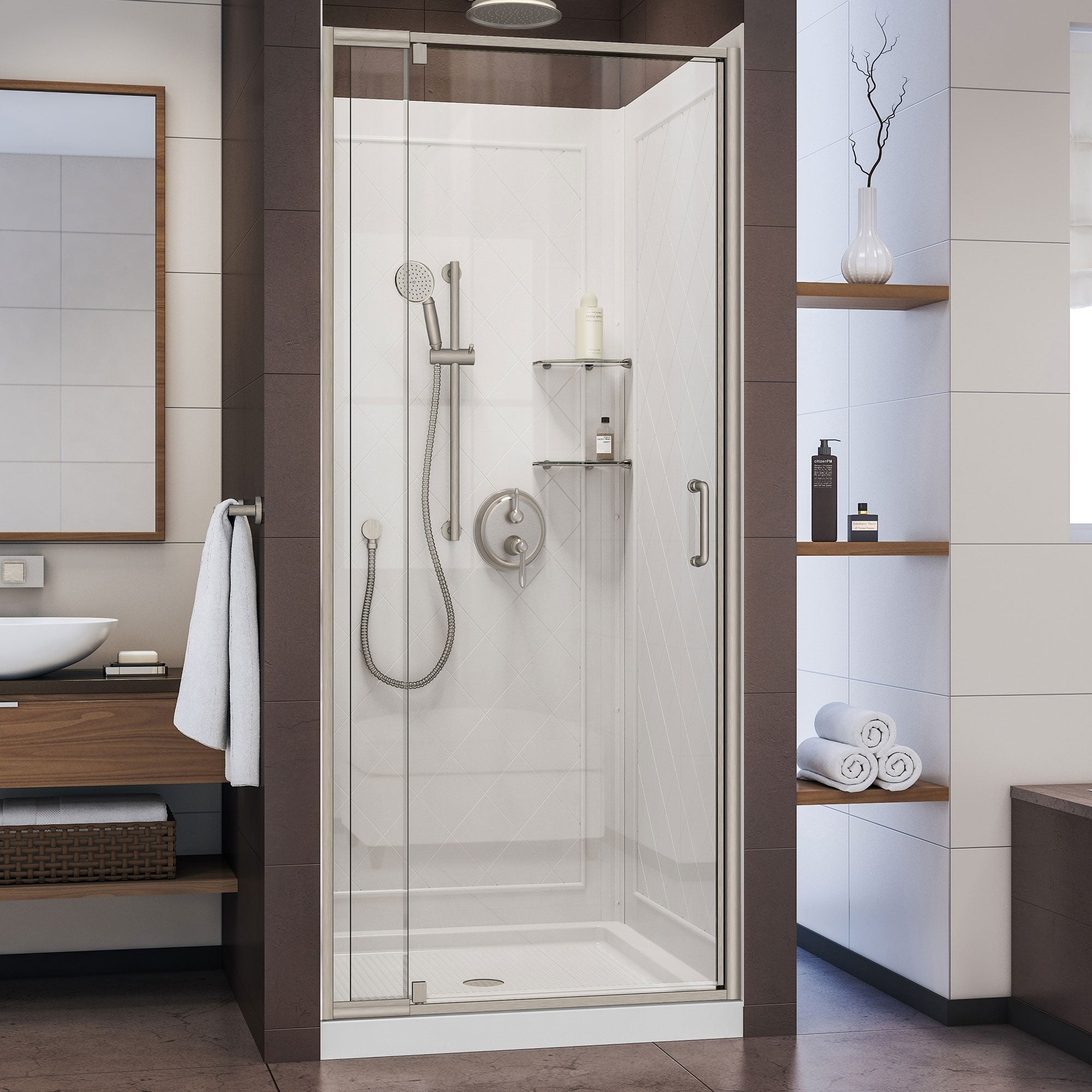 Dreamline Flex 36 In D X 36 In W X 76 3 4 In H Semi Frameless Pivot Shower Door Slimline Shower Base And Backwall Kit
