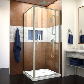 DreamLine Flex Pivot Shower Enclosure and White Base in Brushed Nickel