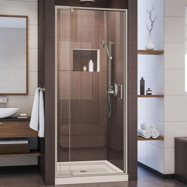DreamLine Flex 32 in. D x 32 in. W x 74 3/4 in. H Pivot Shower Door and SlimLine Shower Base Kit