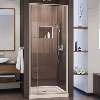 DreamLine Flex Shower Door Brushed Nickel, Center Drain Biscuit Base