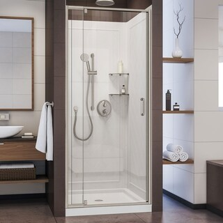 DreamLine Flex Semi-Frameless Shower Door, Brushed Nickel, White Base and Backwalls