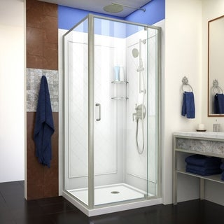 DreamLine Flex Shower Enclosure, Brushed Nickel, White Base and Backwalls