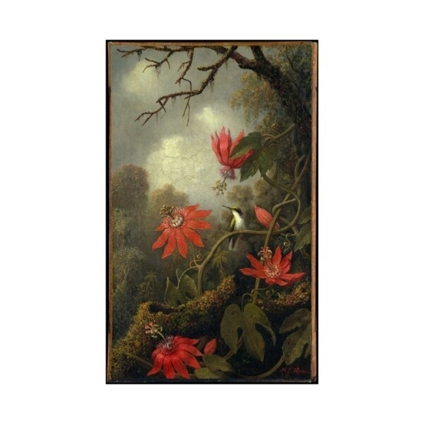 Easy Art Prints Martin Johnson Heade's 'Hummingbird and Passion Flowers' Premium Canvas Art