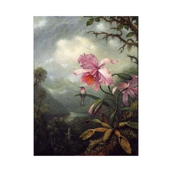 Easy Art Prints Martin Johnson Heade's 'Hummingbird Perched on an Orchid' Premium Canvas Art