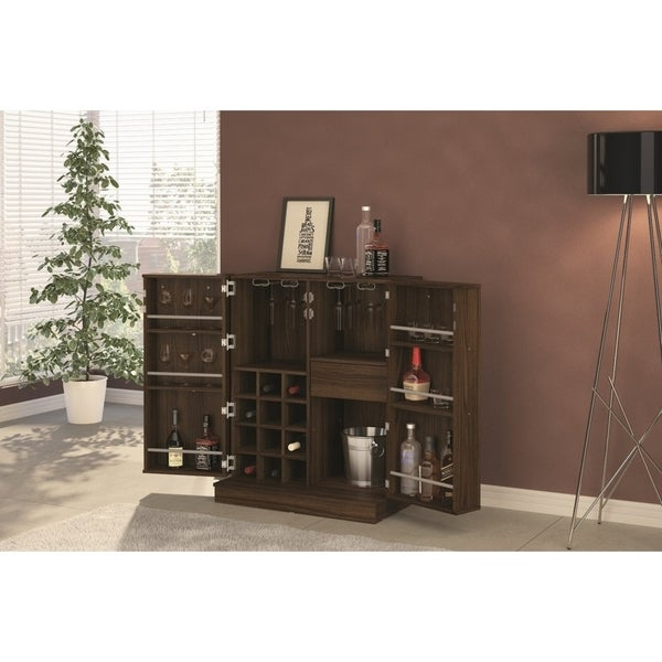 Boahaus Brown Expandable Bar Cabinet with Wine Storage. Opens flyout.