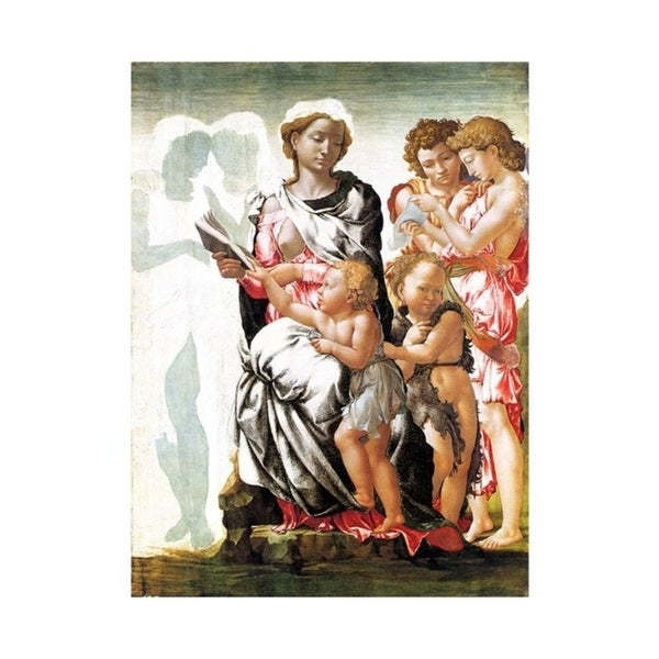 Easy Art Prints Michelangelo's 'The Virgin and Child with Saint John and Angels' Premium Canvas Art