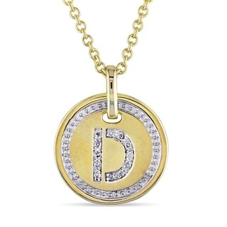 Miadora Yellow Plated Sterling Silver Diamond D-Initial Halo Charm Necklace