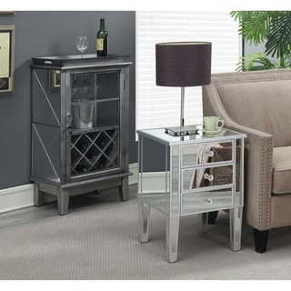 Silver Orchid Bertram Silver 3-drawer Mirrored End Table