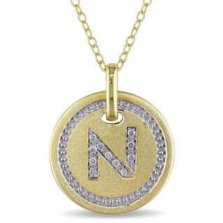 Miadora Yellow Plated Sterling Silver Diamond N-Initial Halo Charm Necklace