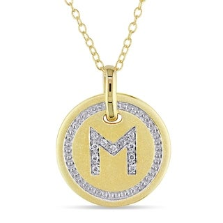 Miadora Yellow Plated Sterling Silver Diamond M-Initial Halo Charm Necklace
