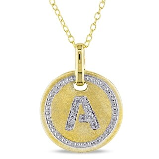 Miadora Yellow Plated Sterling Silver Diamond A-Initial Halo Charm Necklace