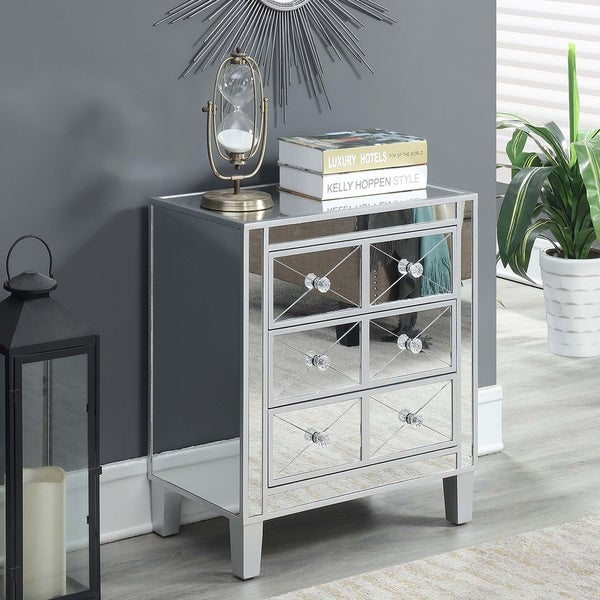 Silver Orchid Bertram 3 Drawer Mirrored End Table by Silver Orchid