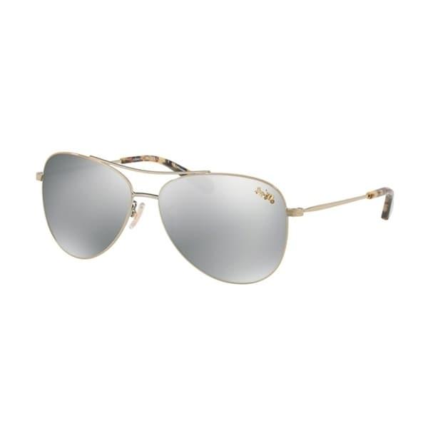 ee6f8e7c17 Shop Coach Aviator HC7079 Women LIGHT GOLD Frame SILVER MIRROR POLAR Lens  Sunglasses - Free Shipping Today - Overstock - 24256611