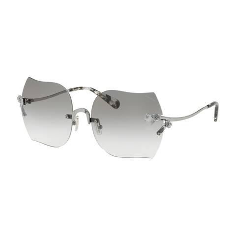 Coach Oversized HC7082B Women SHINY GUNMETAL Frame GREEN BLUE GRADIENT Lens Sunglasses