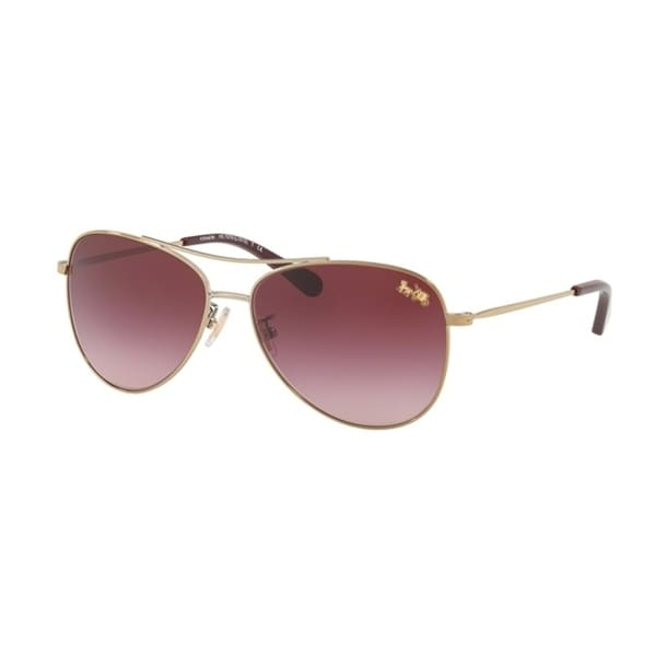 213e6ec0a Shop Coach Aviator HC7079 Women LIGHT GOLD Frame BURGUNDY GRADIENT Lens  Sunglasses - Free Shipping Today - Overstock - 24256658