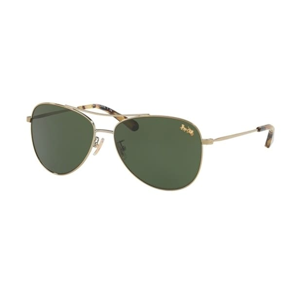 398d5d086f Shop Coach Aviator HC7079 Women LIGHT GOLD Frame DARK GREEN SOLID Lens  Sunglasses - Free Shipping Today - Overstock - 24256662