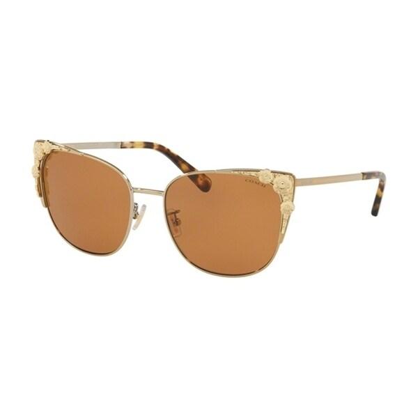 07c99e2b9e Shop Coach Cateye HC7085 Women LIGHT GOLD Frame SOLID DARK BROWN Lens  Sunglasses - Free Shipping Today - Overstock - 24256673