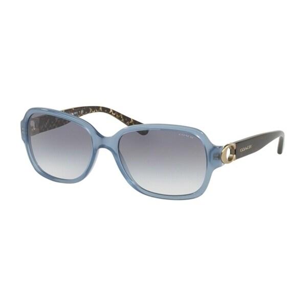 826d51b65a Shop Coach Rectangle HC8241 Women MATCH MILKY BLUE DENIM Frame BLUE GRADIENT  Lens Sunglasses - Free Shipping Today - Overstock - 24256725