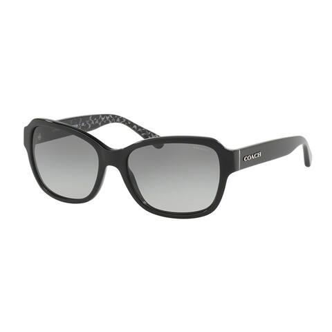 c3c2ece2ab11 Coach Rectangle HC8232F Women BLACK Frame DARK GREY GRADIENT Lens Sunglasses