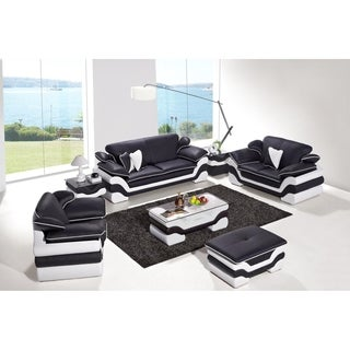 Black and White Modern Contemporary Real Leather Configurable Living Room Furniture Set with Ottoman and Coffee Table