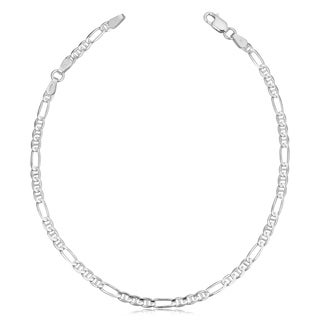 Sterling Silver 3.7 millimeters Figaro Link Anklet (adjusts to 9 or 10 inches)