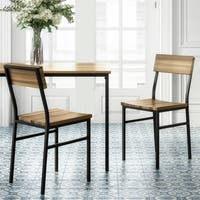 Novogratz Linden Natural Wood and Metal Dining Chair 2 Pack