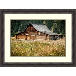 Framed Art Print 'Teton Barn' by Tim Oldford: Outer Size 33 x 25-inch