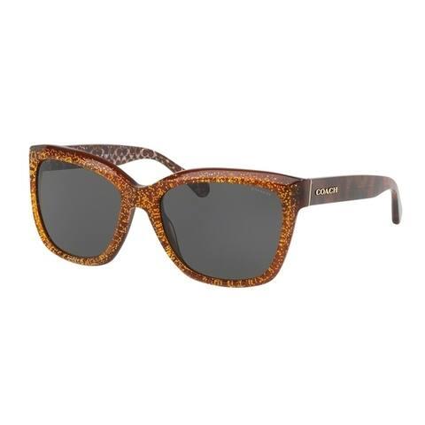 Coach Square HC8230 Women AMBER CHUNKY GLITTER Frame DARK GREY SOLID Lens Sunglasses