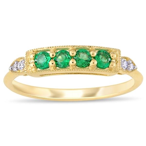 Miadora 10k Yellow Gold Created Emerald and Diamond Milgrain Detail Bar Ring. Opens flyout.