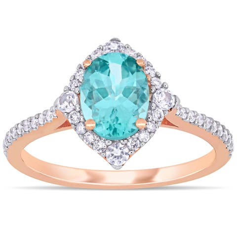 Miadora 10k Rose Gold Oval-Cut Apatite White Sapphire and 1/4ct TDW Diamond Halo Ring