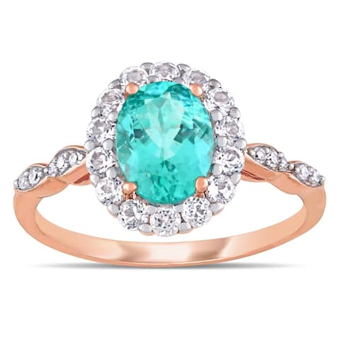 Miadora 14k Rose Gold Oval-Cut Apatite White Topaz and Diamond Halo Ring