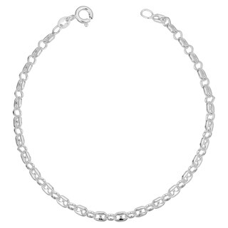 Sterling Silver 3.3 millimeter Puffed Mariner Link Bracelet (7.5 or 8 inches)