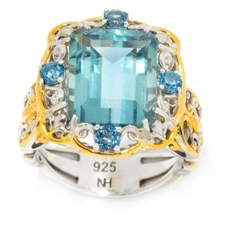 Michael Valitutti Palladium Silver Octagon Green-Blue Fluorite & London Blue Topaz Ring