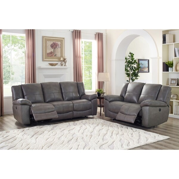 Ace Grey Top Grain Leather Lay Flat Power Reclining Sofa and Loveseat