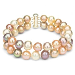DaVonna Sterling Silver 2-row Multi Pink Freshwater Cultured Pearl Bracelet, 8-9mm