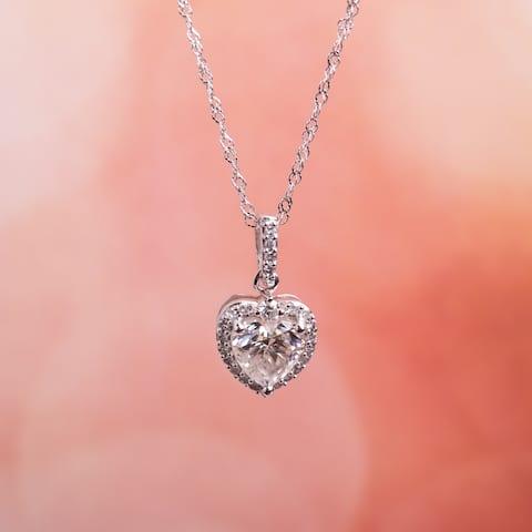Moissanite by Miadora 10k White Gold Moissanite and 1/10ct TDW Diamond Heart Halo Necklace